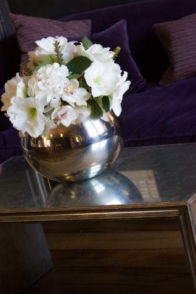 silver fishbowl arrangemnt at Hotel Du Vin Henley