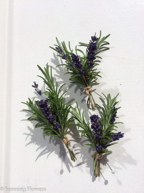 Rosemary and lavender buttonholes