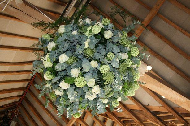 Flower ball at Bury Court Barn
