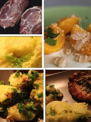 Jamie Oliver 30 Minuten Menü – Schweinekoteletts mit Knusperkruste,Qutschkartoffeln,Wirsing mit Minze, heiße Pfirsiche mit Vanillesauce