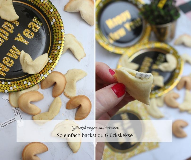 Glückskekse selber backen für Silvester mit einer kleinen Brotschaft