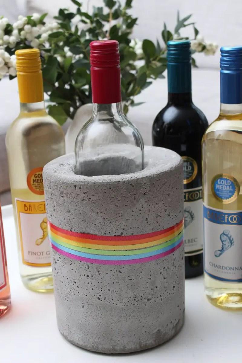 """DIY- Beton Weinkühler – """"Dress the Rainbow"""" mit Barefoot Wine"""