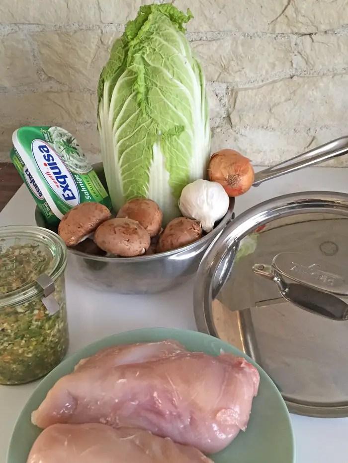 Hähnchengeschnetzeltes mit Blumenkohlreis und Frischkäsesauce   Low Carb