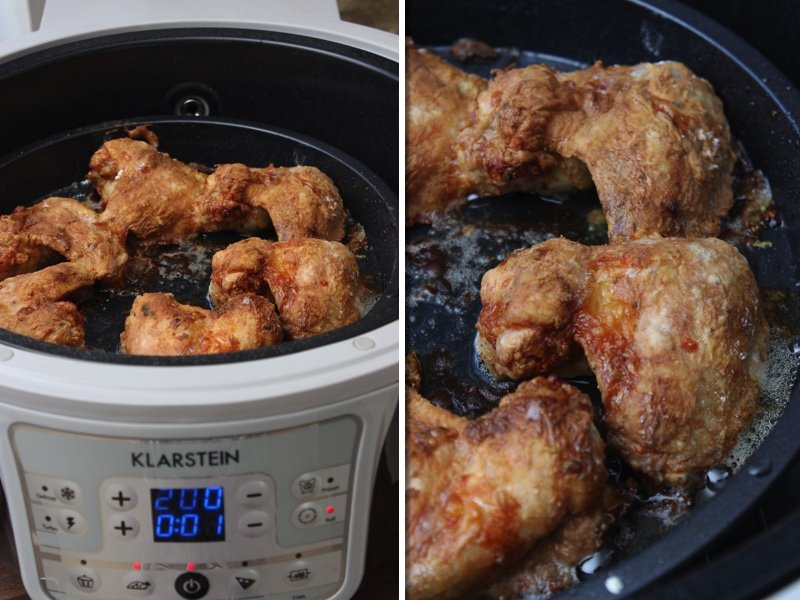 Parmesan-Süßkartoffel-Wedges, Chicken Wings & Parmesan-Joghurt Dip in der Heißluftfritteuse VitAir Turbo von Klarstein