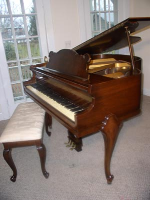 Estey Art Case Baby Grand Piano w/ French Leg Mahogany - New York