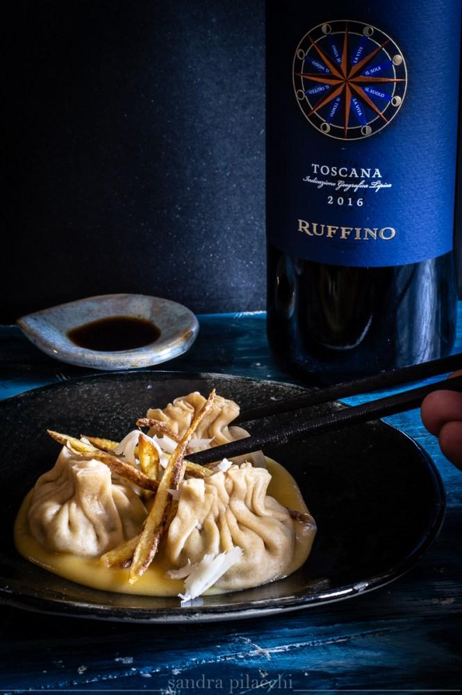 raviolo italo-cinese: Jiaozi vegetariano con pak choi ruffino