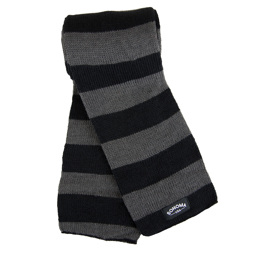 black and gray striped Sonoma-USA scarf