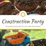Construction truck dirt cake with plastic toy and gummy worms above a title overlay with a table of construction themed food below