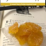 Crystallized Pineapple on a piece of wax paper sitting on an open Harry Potter book with a wand on top with a glass bowl of crystallized pineapple behind the book all on a black and white marble surface (vertical with title and description overlay)