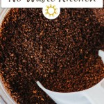 Close up of coffee grounds being scooped from a glass jar (vertical with title overlay)