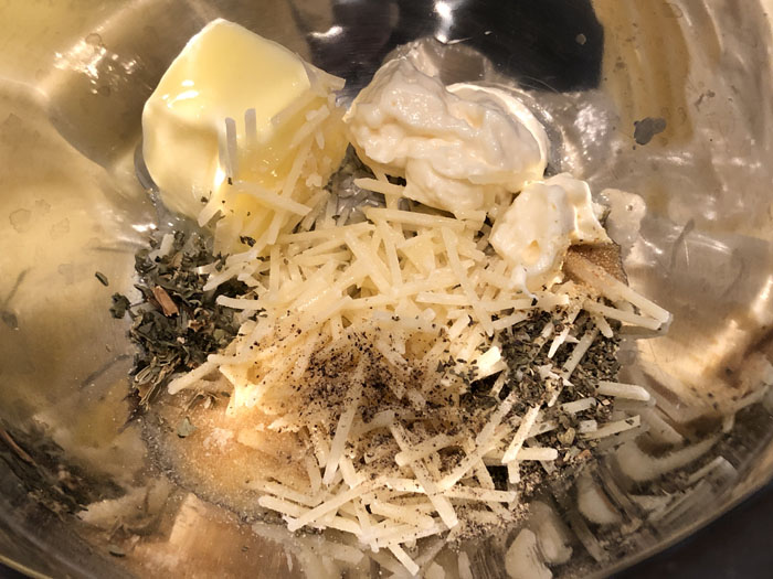Broiled Tilapia Parmesan topping ingredients in a stainless steel bowl