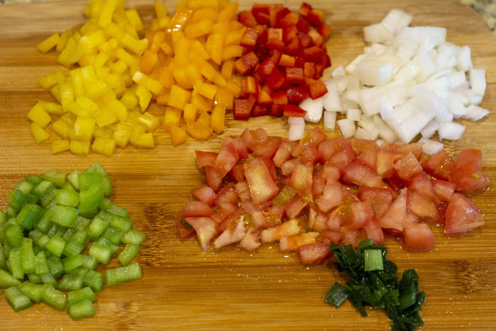 Cut vegetables on a bamboo butting board