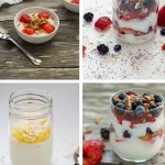 Collage of 4 yogurt parfaits (with title overlay)