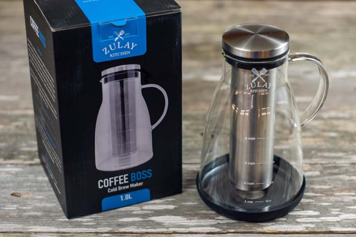 Zulay kitchen cold brew coffee pot next to the box on a wooden surface
