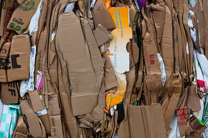 Stacks of cardboard bundled for recycling