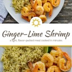 Ginger-lime shrimp next to cilantro and lime shrimp with lime wedges on a square white plate next to a white and brown towel all on a wooden surface (with title overlay)