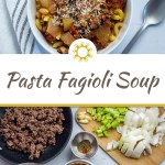 Pasta Fagioli soup in a round white bowl next to a stainless steel spoon and a white and grey towel all on a white surface (with title overlay)