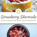 Layered strawberry shortcake on a wooden platter with a towel behind all on a wooden surface (with title overlay)