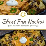 Woman's hand grabbing a sheet pan nacho chip off a metal baking sheet on a wooden surface (with title overlay)