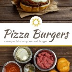 Pizza burger on a piece of parchment paper with a bamboo tray of burgers behind and a glass of ice water with a brown and white towel all on a wooden surface (with title overlay)