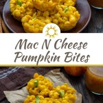 Mac and cheese bites with pumpkin stacked on a round brown pan with a glass of pumpkin juice and fall decor behind all on a wooden surface (with title overlay)