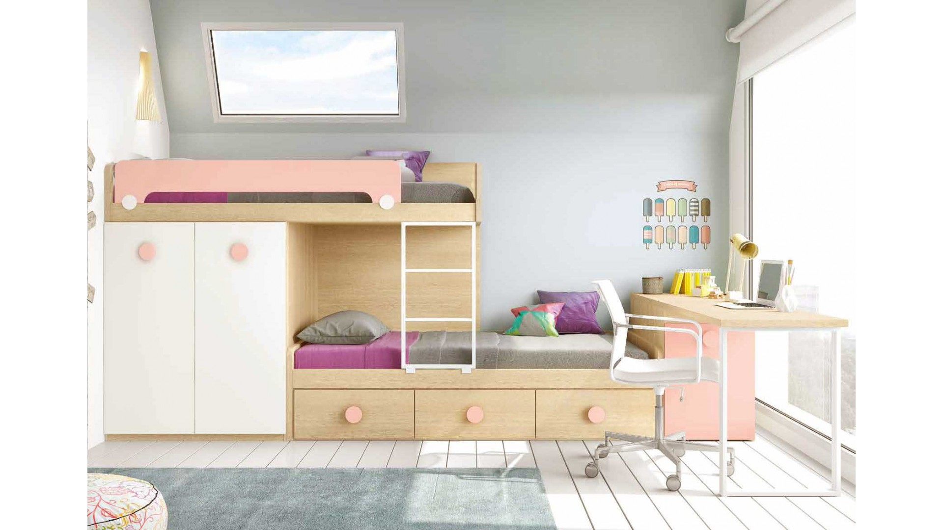 lit superpose avec bureau composition l202 glicerio