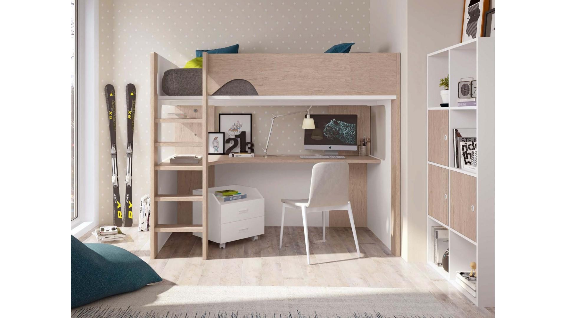lit mezzanine ado avec bureau personnalisable f206 glicerio