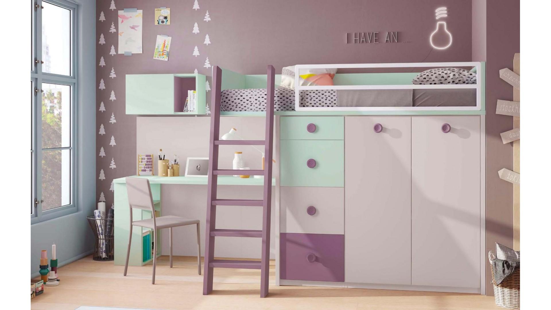 lit mezzanine enfant avec bureau integre personnalisable f221 glicerio