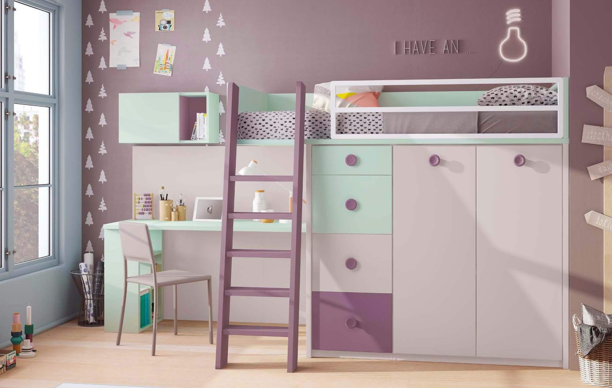 Lit Mezzanine Enfant Compact Color Avec Bureau GLICERIO