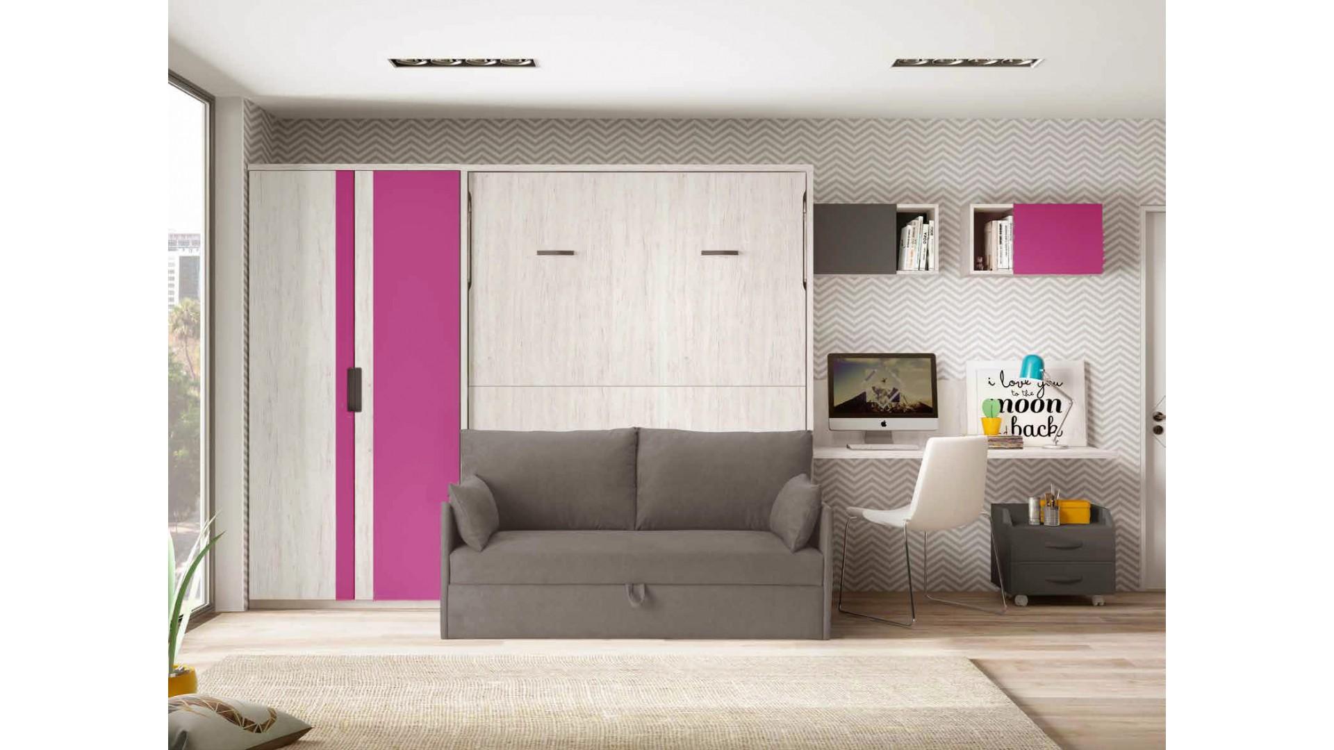 lit escamotable 2 personnes avec canape personnalisable f423 glicerio