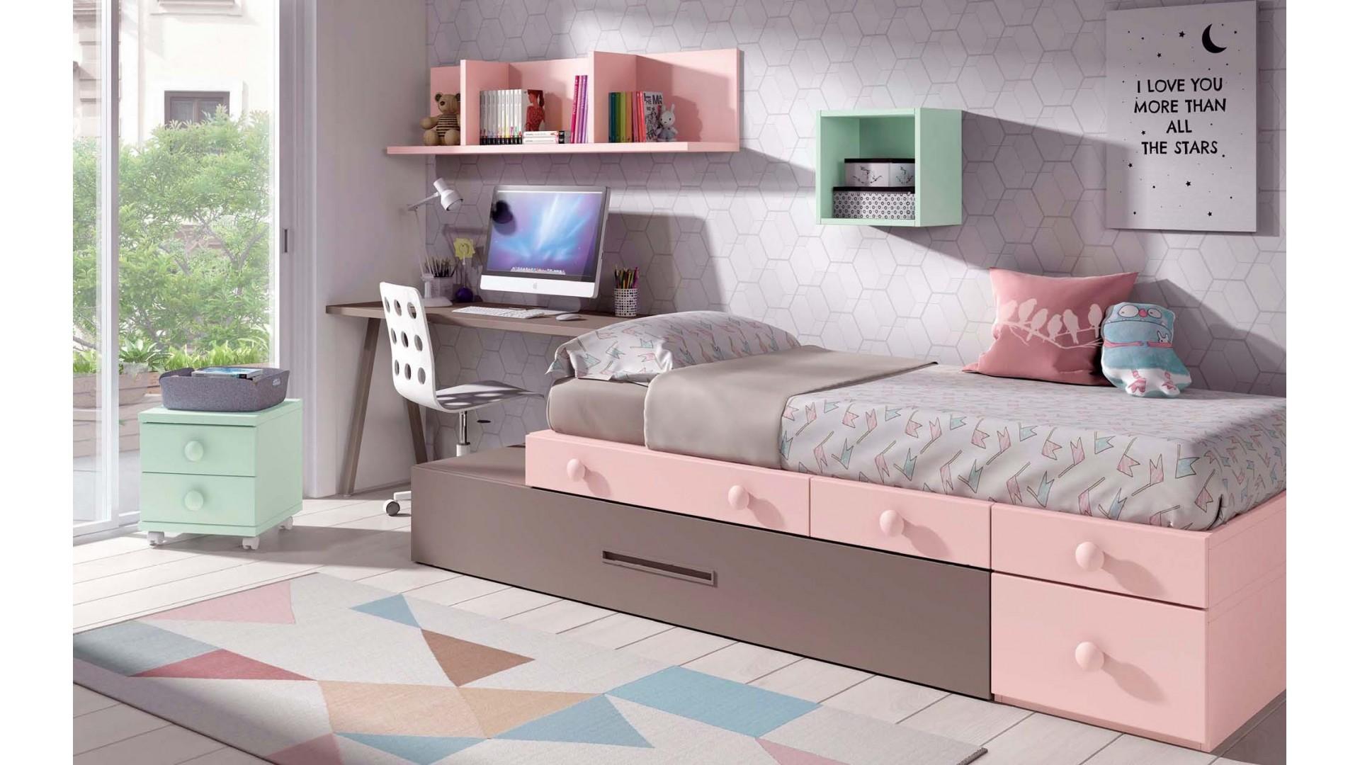 chambre pour fille avec lit gigogne personnalisable f305 glicerio