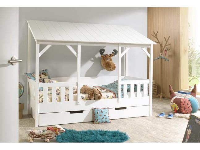 lit cabane maison en bois marcus toit blanc 90x200 cm sonuit
