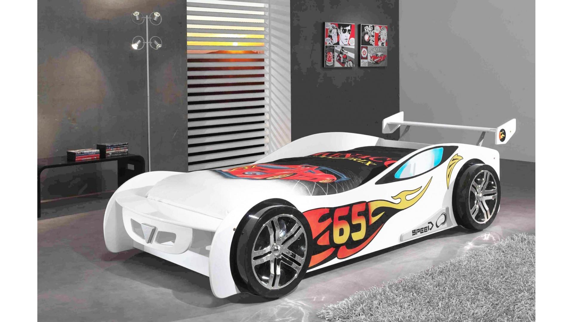 lit enfant voiture bolide blanc avec couchage 90 x 200 cm sonuit