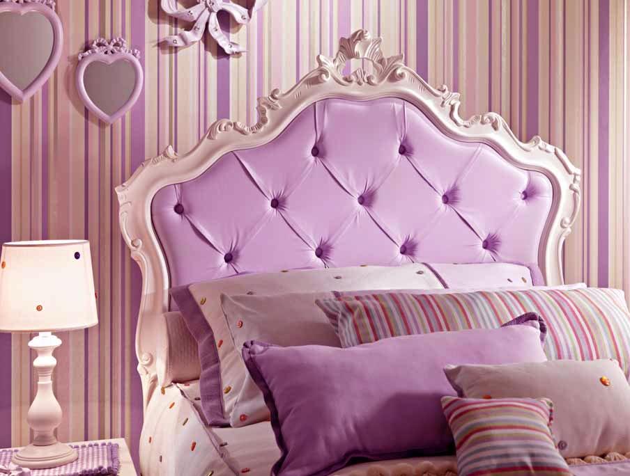 lit fille avec tete de lit capitonnee