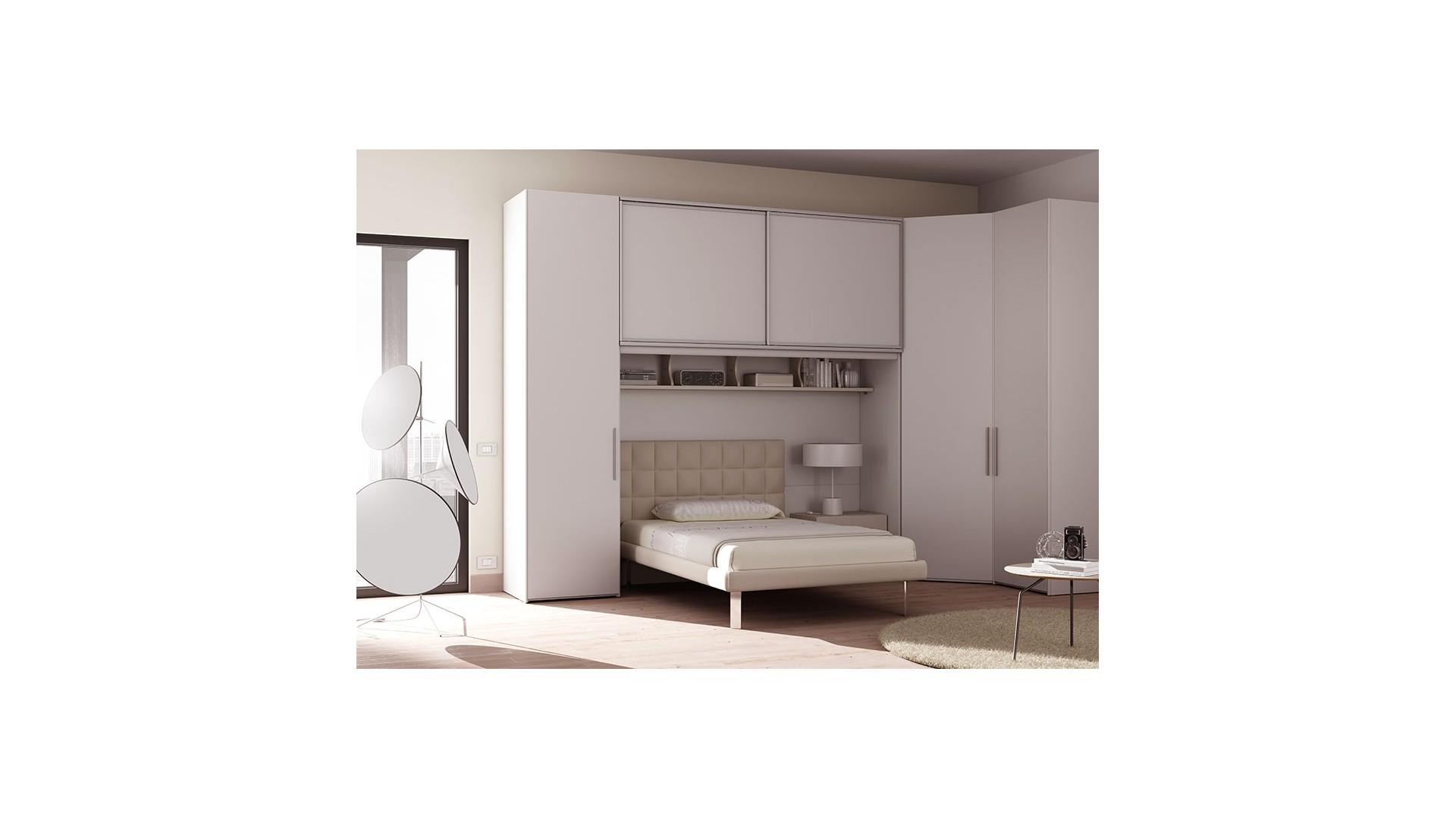 chambre ado lit 1 personne personnalisable am21 lit chevet rangement pont armoires moretti compact