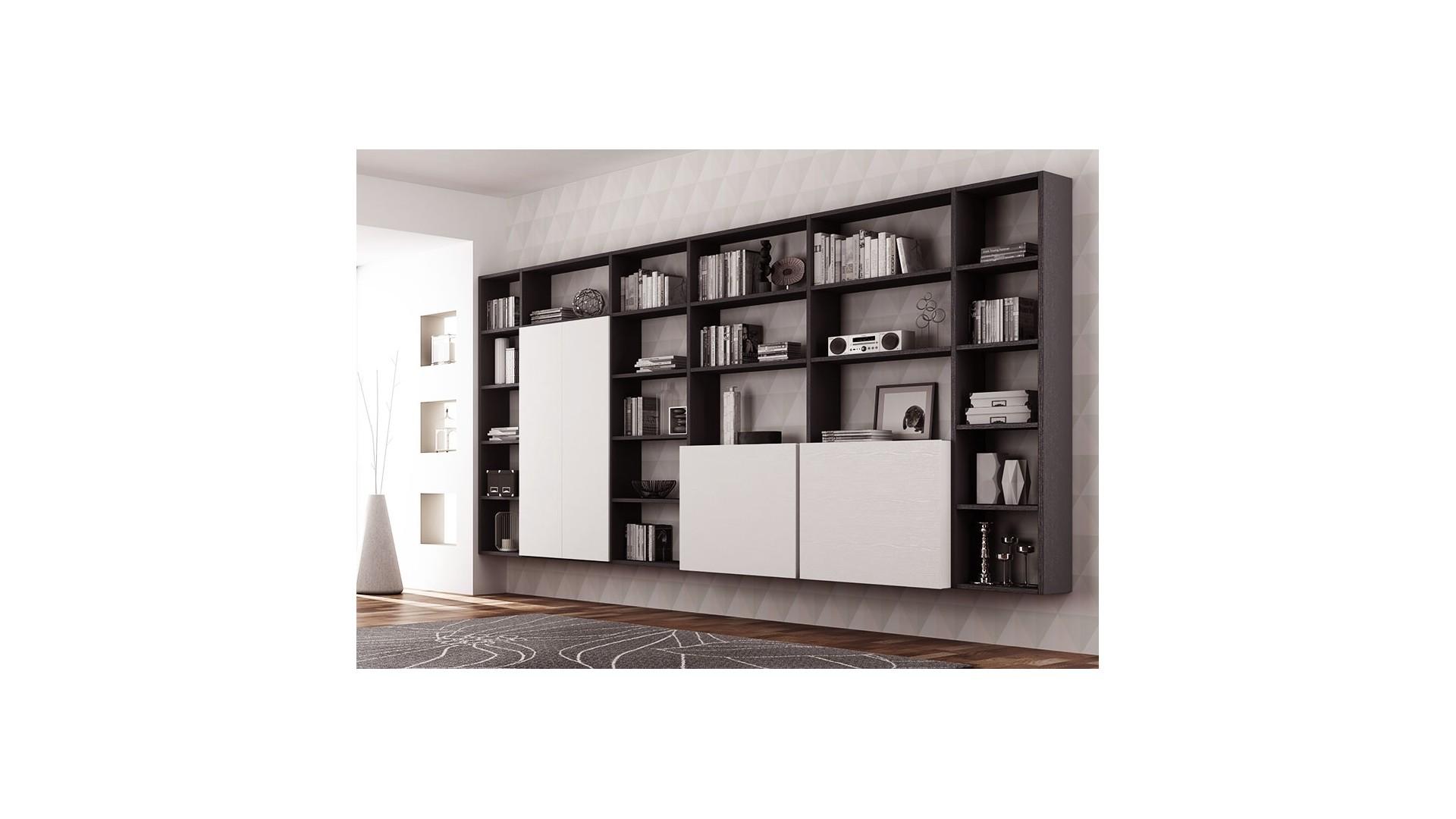 bibliotheque design personnalisable al16 suspendue avec portes ouverture push pull moretti compact