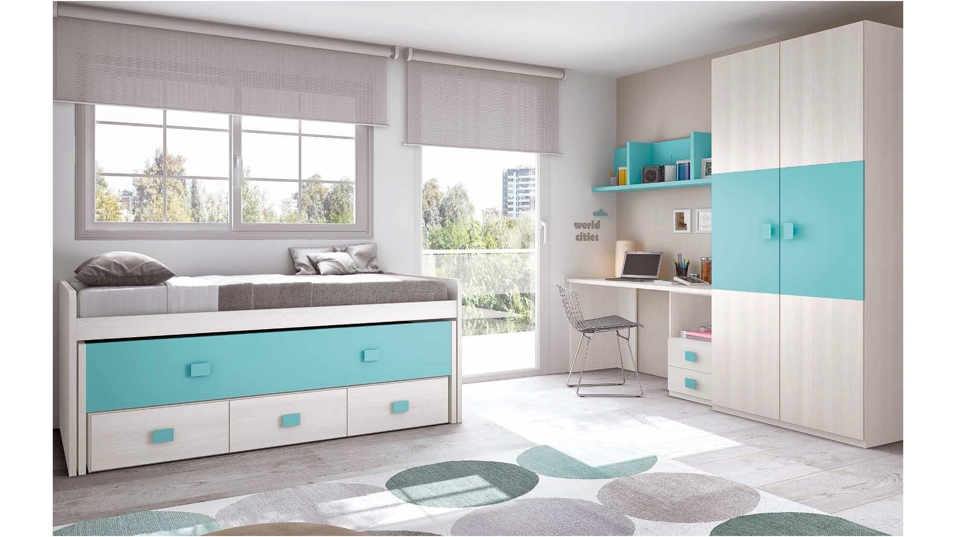 chambre enfant complete composition l002 avec lit gigogne glicerio