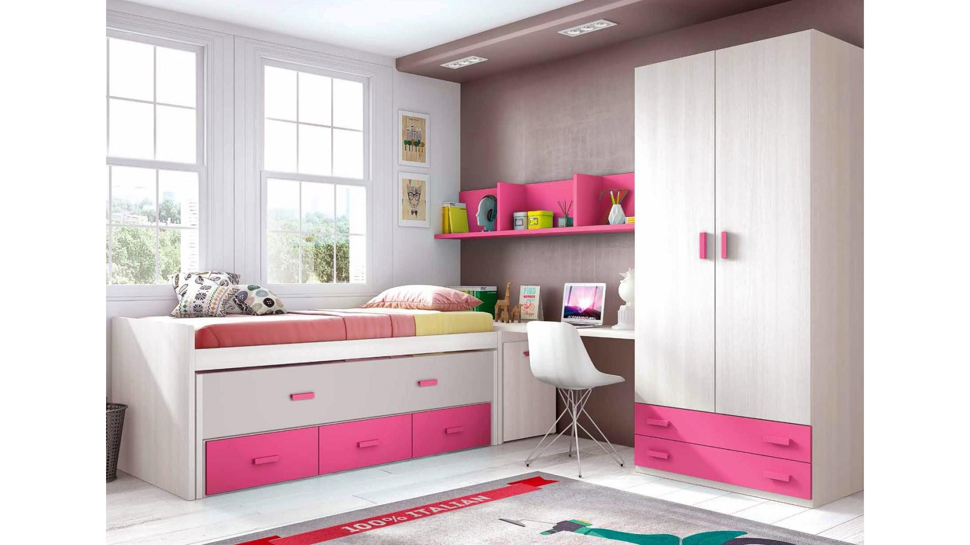 chambre fille rose composition l011 avec lit gigogne glicerio