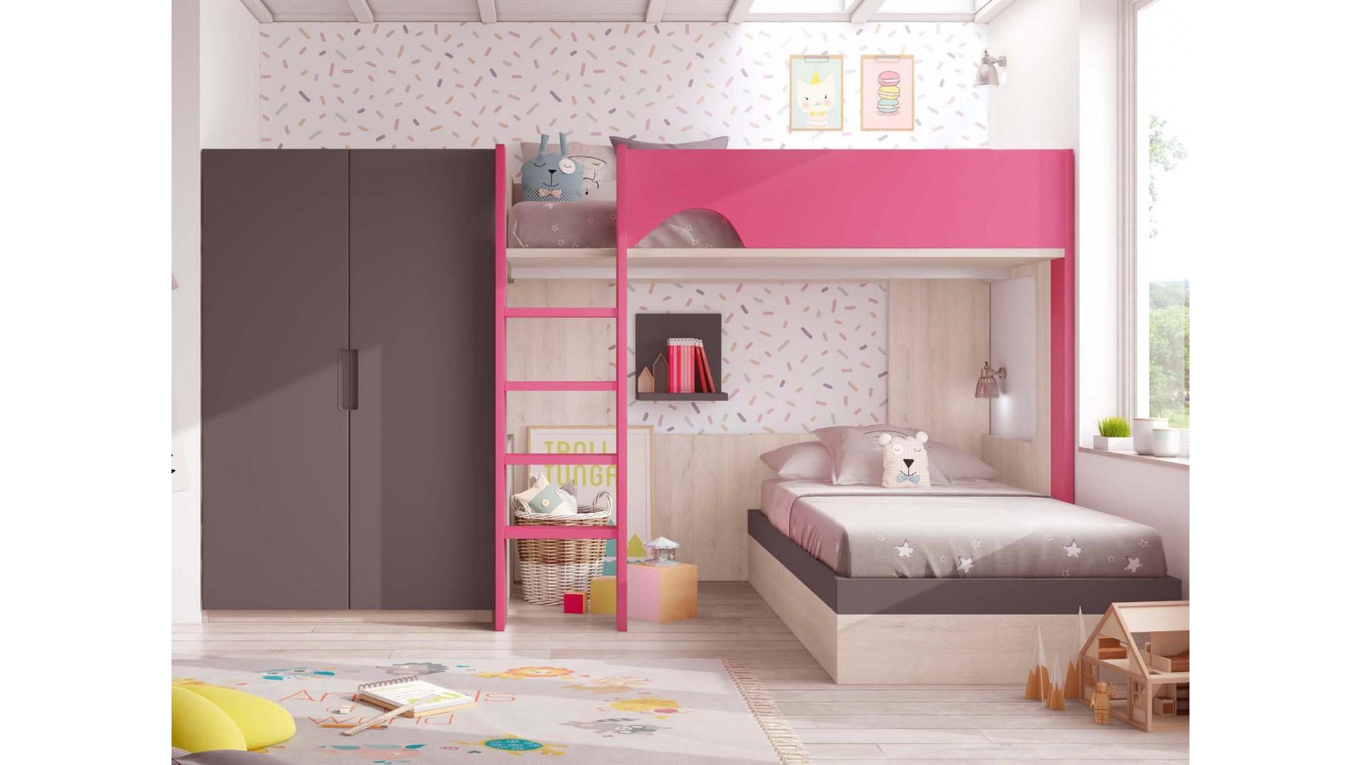 chambre avec lit superpose fille personnalisable f208 glicerio