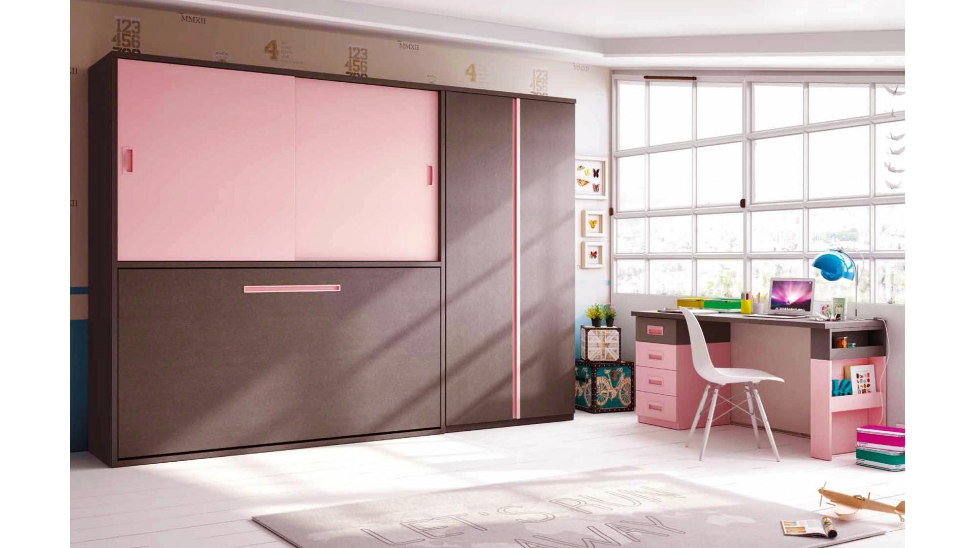 chambre enfant avec lit escamotable horizontal bureau personnalisable f350 glicerio