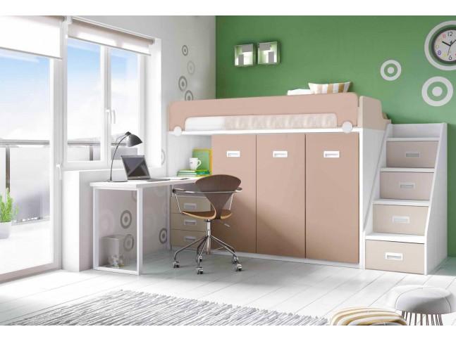 lit mezzanine avec bureau personnalisable f260 glicerio