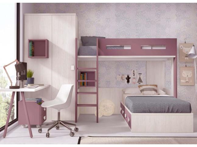 lit superpose separable avec armoire et bureau personnalisable f209 glicerio