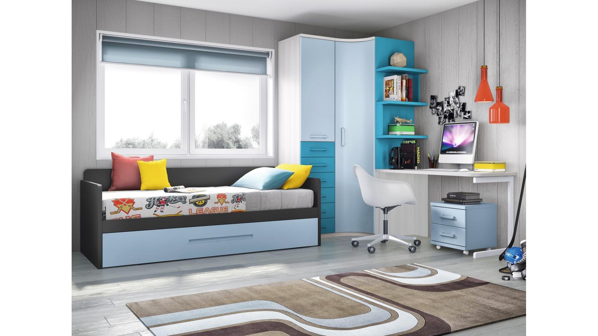 chambre ado garcon personnalisable avec lit gigogne f165 glicerio
