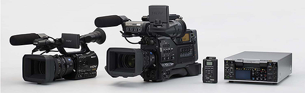 (From left) HDV camcorder, HVR - Z7J, HDV camcorder, HVR - S270J, MEMORIREKODINGUYUNITTO (The HVR - Z7J, the HVR - S270J, which supplied), the recorder HDV HVR - M35J.