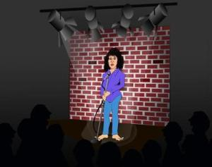 Cartoon image of Sonya on stage
