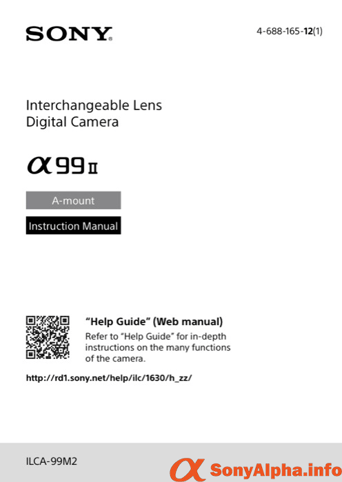 SonyAlphaInfo ILCA-99M2 A99II User Manual