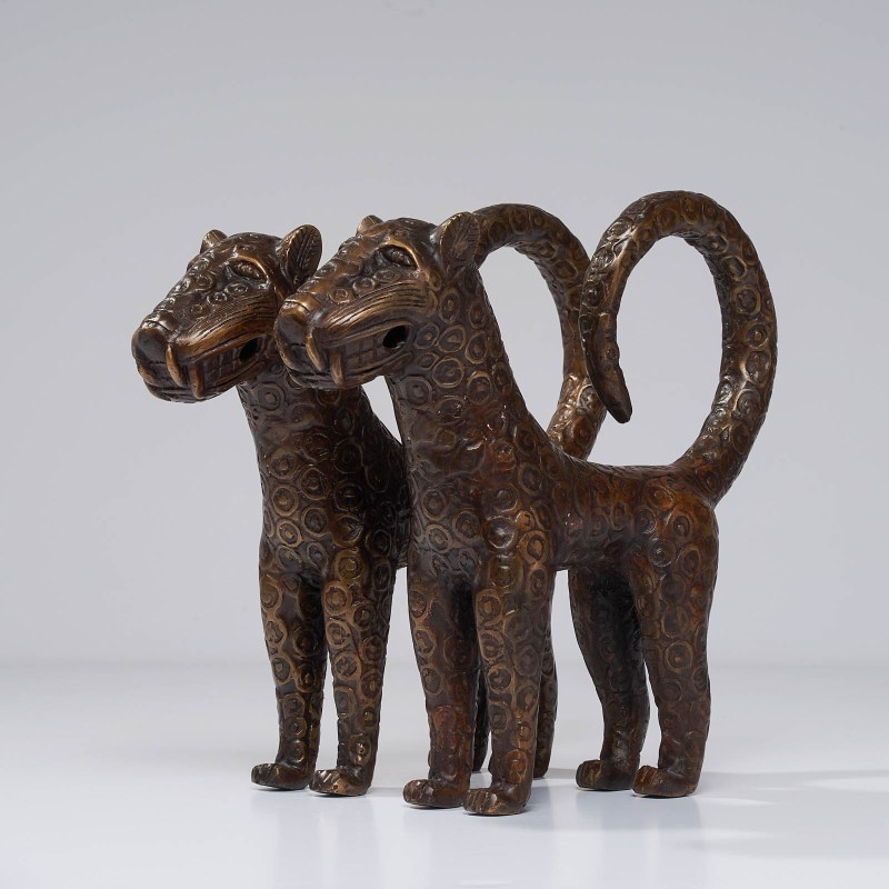 set of two benin leopards