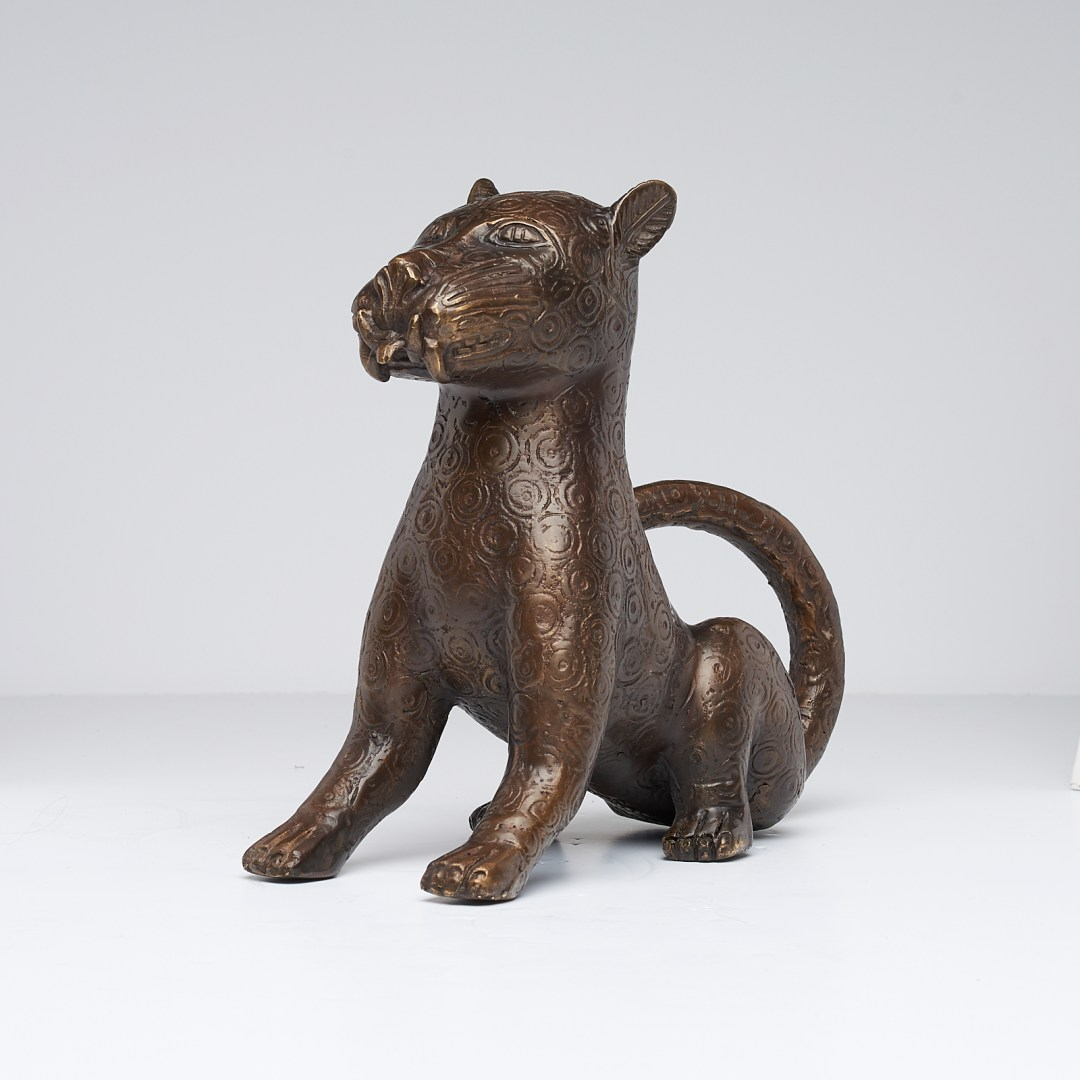 Bronze Sitting Benin Leopard Sculpture