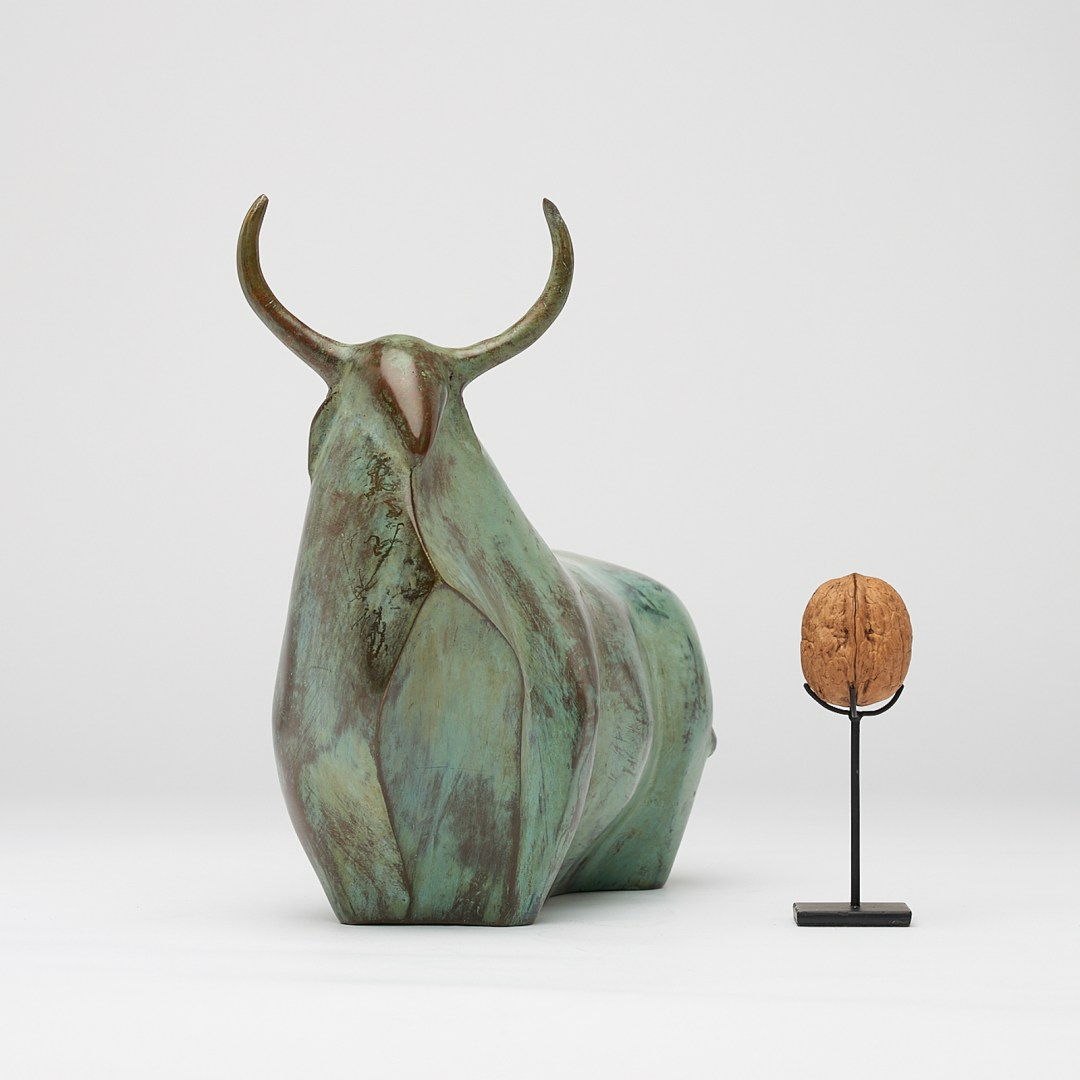 patinated heavy bronze bull sculpture