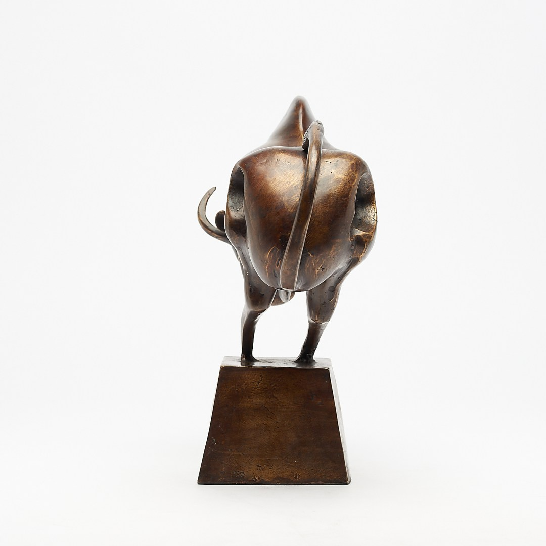 cubist bull in brushed bronze